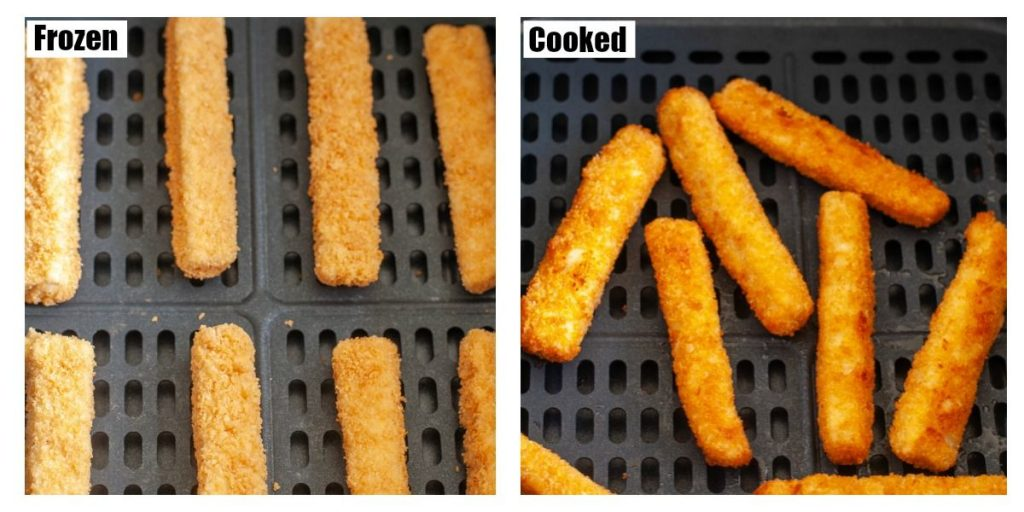 frozen and cooked fish sticks