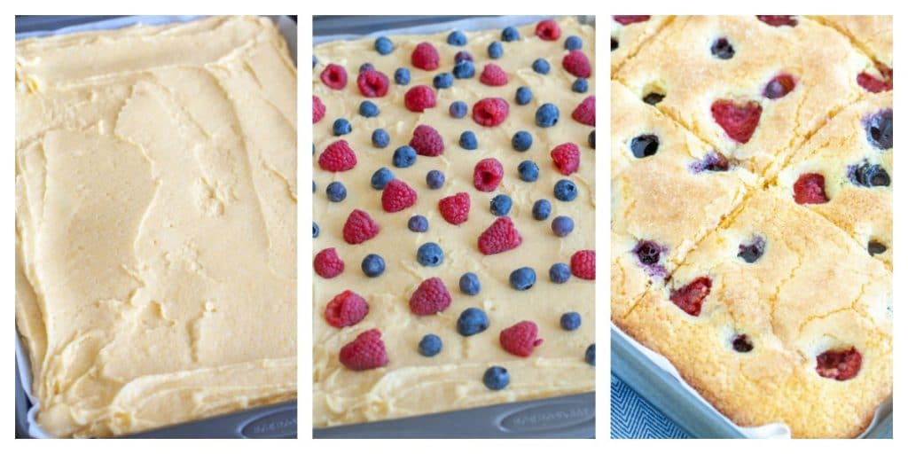 sheet cake in pan before baked and after with raspberry and blueberry on top