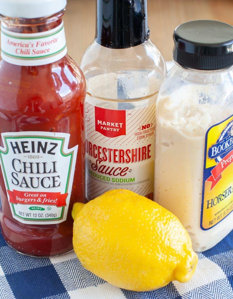 chili sauce, worcestershire, horseradish and lemon