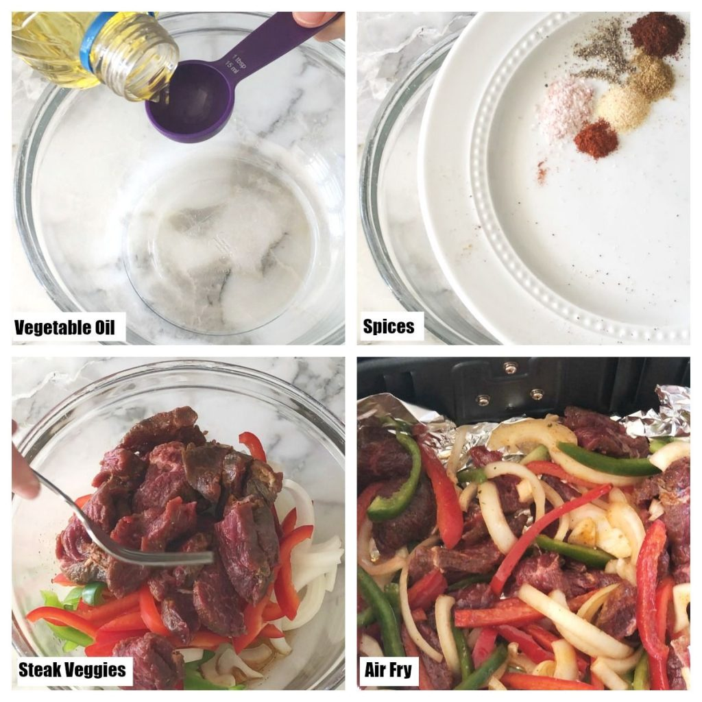 oil, spices, steak and peppers
