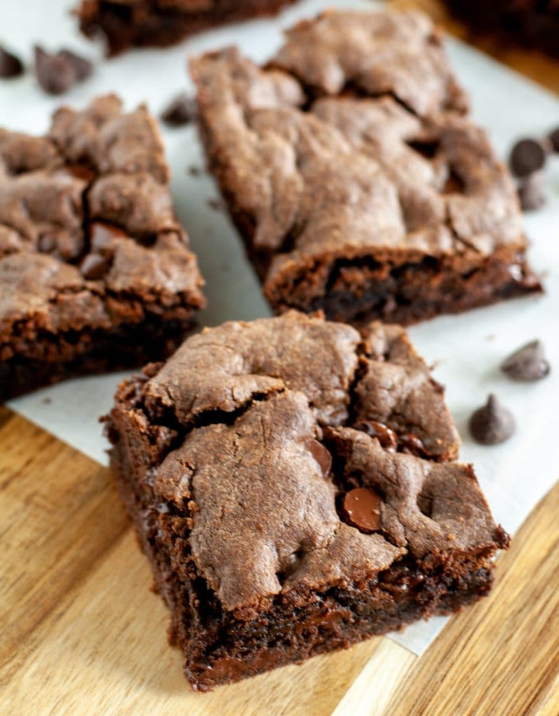 chocolate chip brownies cut in squares