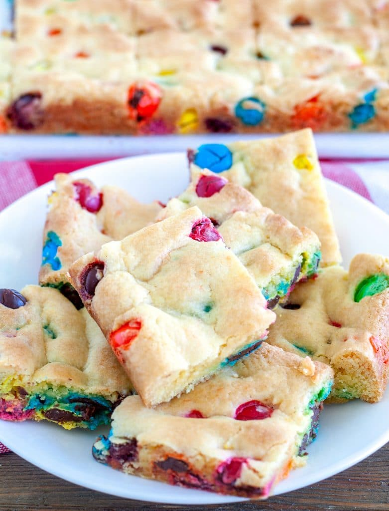 Cake Mix Cookie Bars on a plate