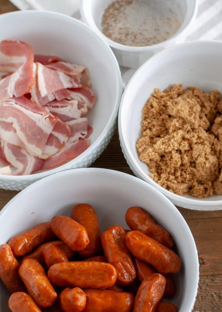 bowl of smokies, bowl of brown sugar, bowl of bacon