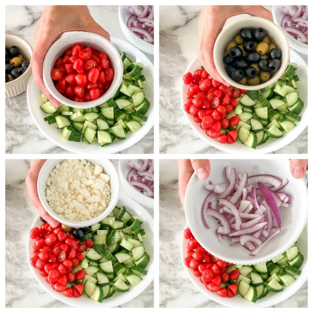 Bowl with cucumber, tomatoes, olives, onions and cheese
