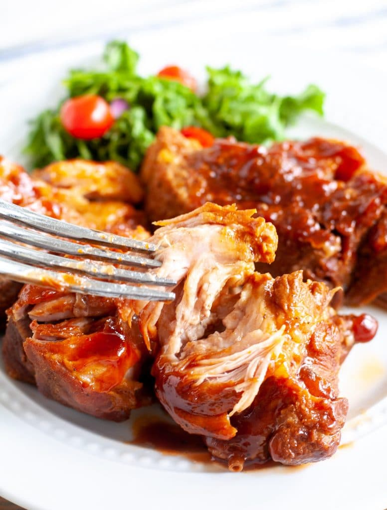 Country style bbq ribs on a plate