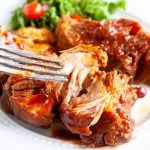 BBQ ribs on a plate with fork