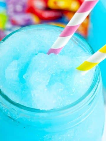 Blue slushie in glass