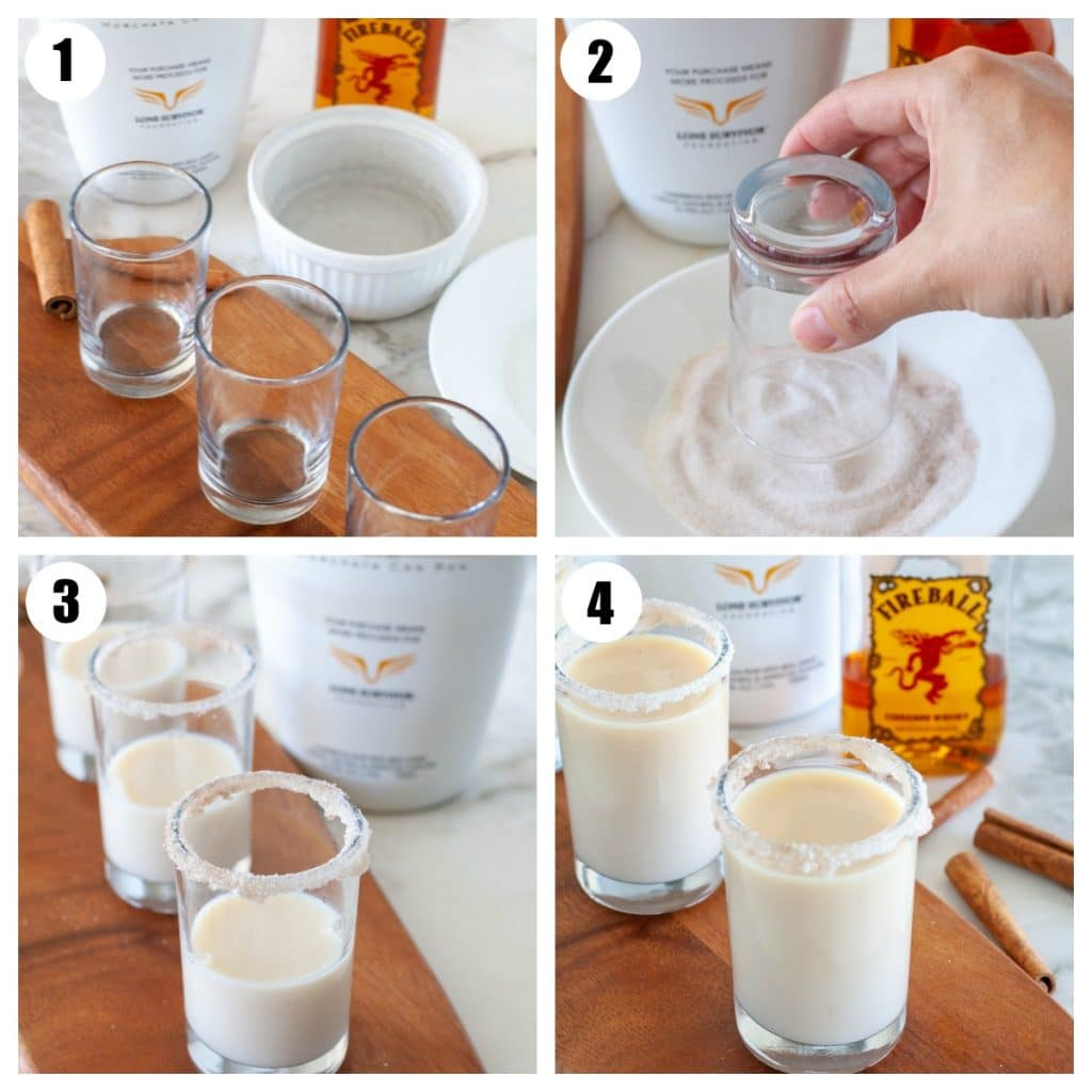 Shot glasses, plate with cinnamon sugar, glass filled with rumchata and fireball