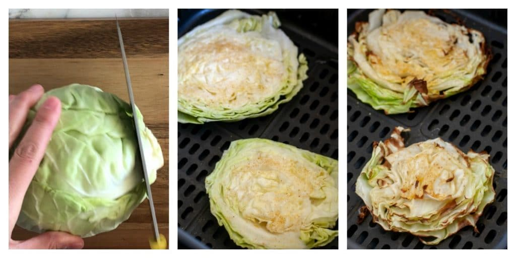 head of cabbage and cabbage slice in air fryer