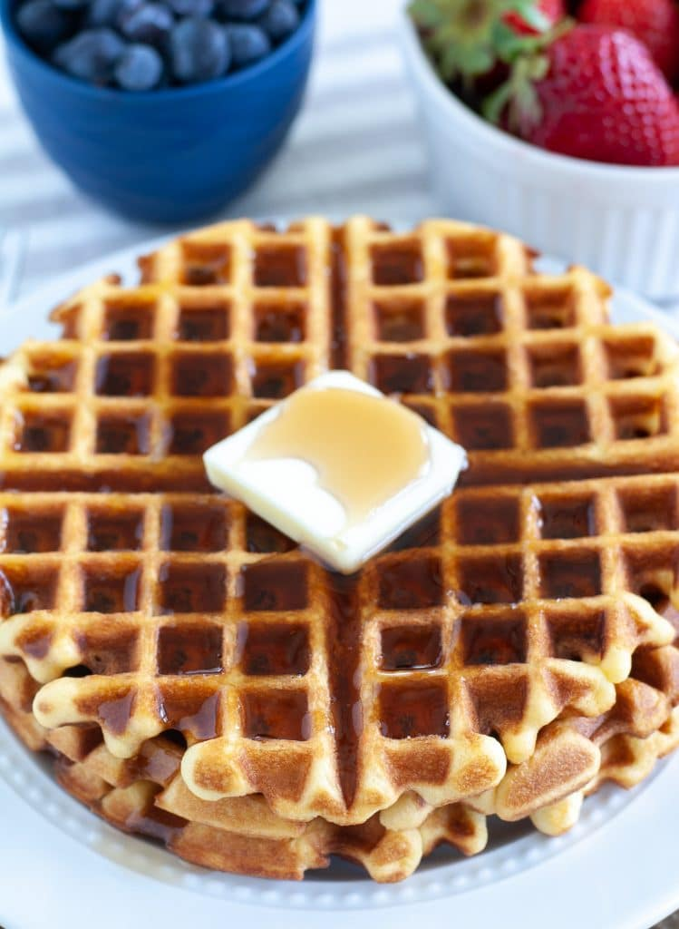 waffles with a pat of butter