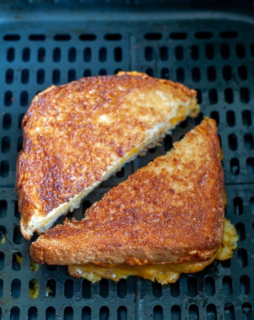 grilled cheese sandwich cut in half