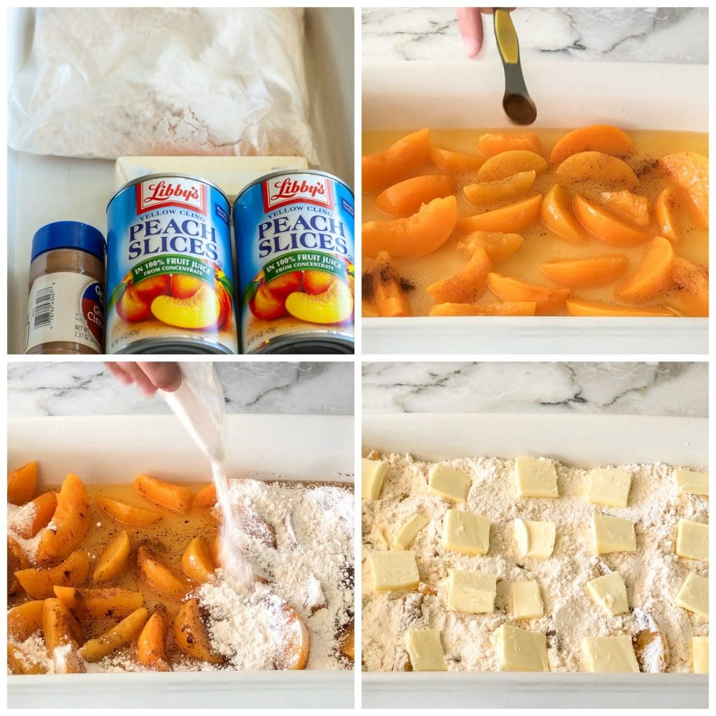 peaches  in a baking dish with cake mix and butter