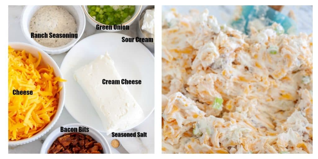 cream cheese, sour cream, cheese, onion, bacon in a bowl, then mixed together
