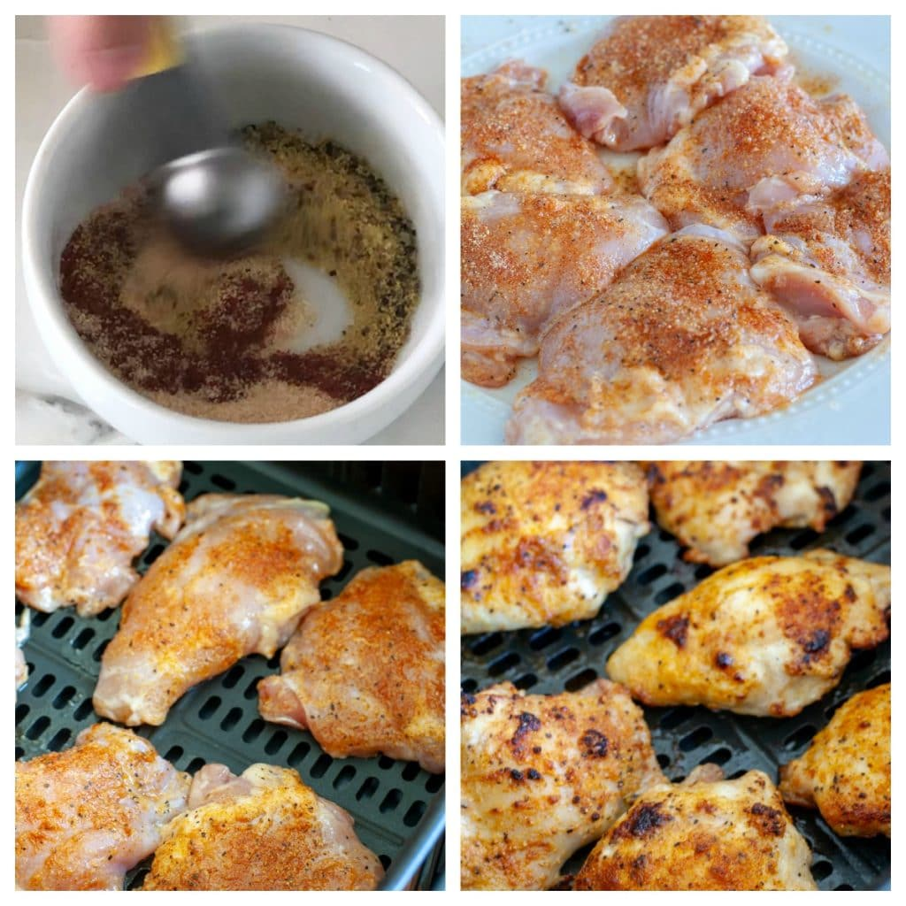 spices in bowl, chicken thighs with spices, cooked chicken thighs