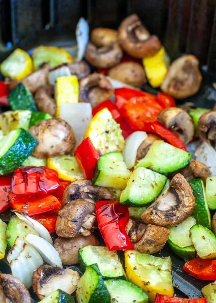 Vegetables in air fryer basket