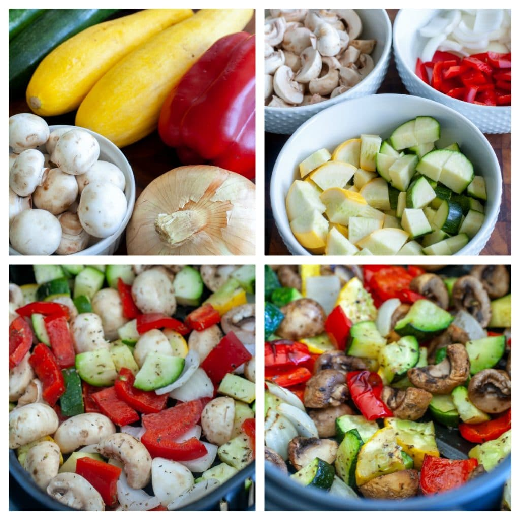 zucchini, squash, pepper, onion and mushrooms, cut and then in air fryer basket