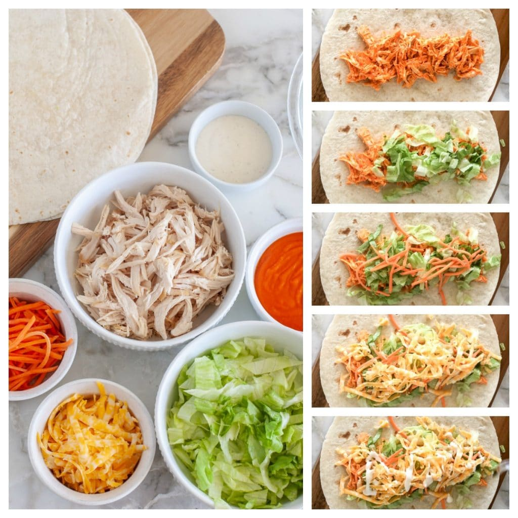 Ingredients of chicken wrap, chicken, buffalo sauce, cheese, lettuce, ranch, carrots