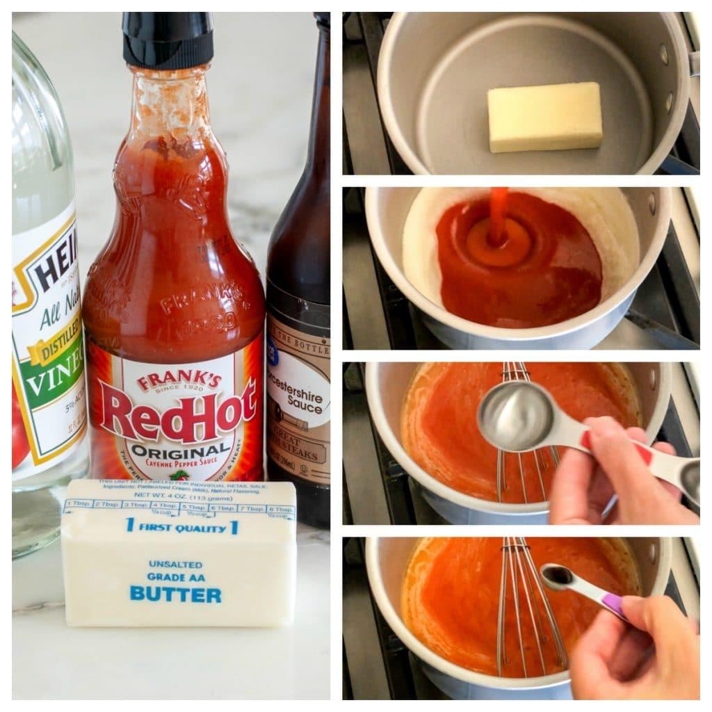 Hot sauce, butter, vinegar, Worcestershire sauce in a saucepan