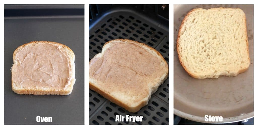 Cinnamon toast on baking sheet, in air fryer and in skillet