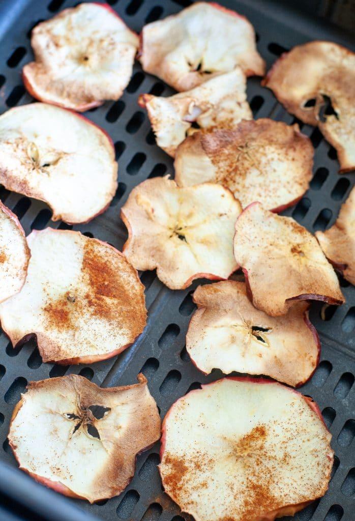 Apple chips in air fryer basket