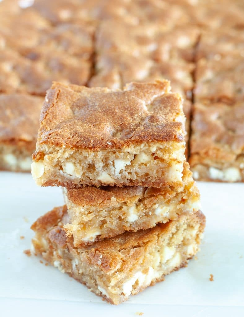 Blondies dessert bars stacked on each other