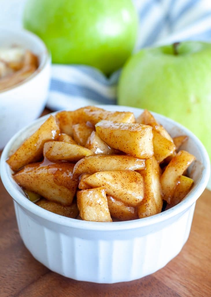 Cooked apples in a bowl