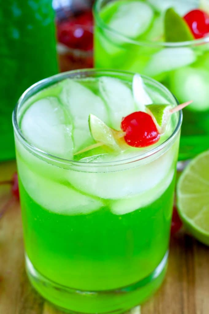 Midori Sour in glass with cherry
