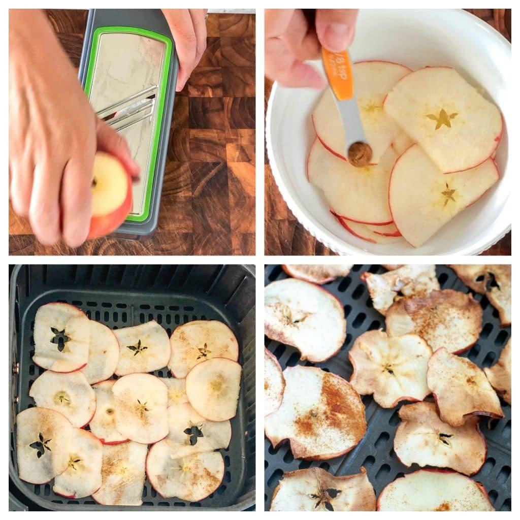 apple on mandoline, with cinnamon, apples slices in air fryer basket