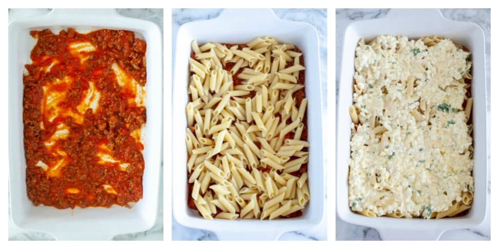 Casserole dish with sauce, pasta and cheese