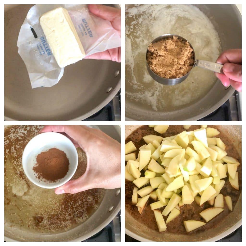 butter, brown sugar, cinnamon apples