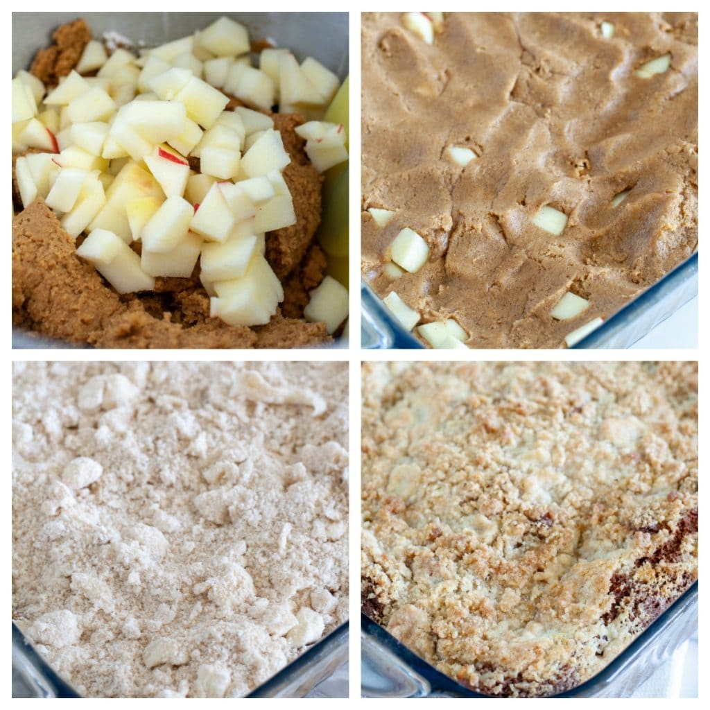 Gingerbread batter with apples, in a baking dish, topped with streusel and baked
