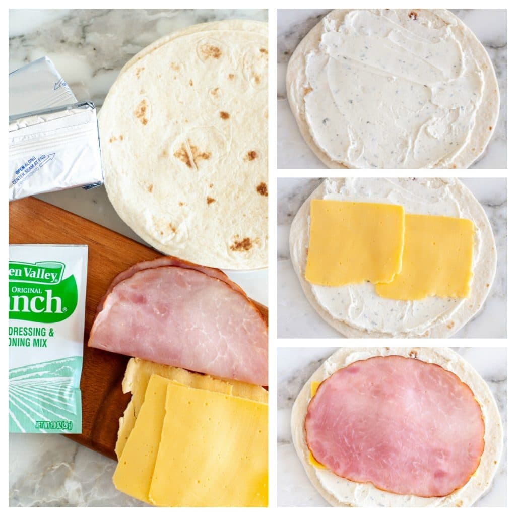 tortilla with cream cheese, ranch, cheese and ham