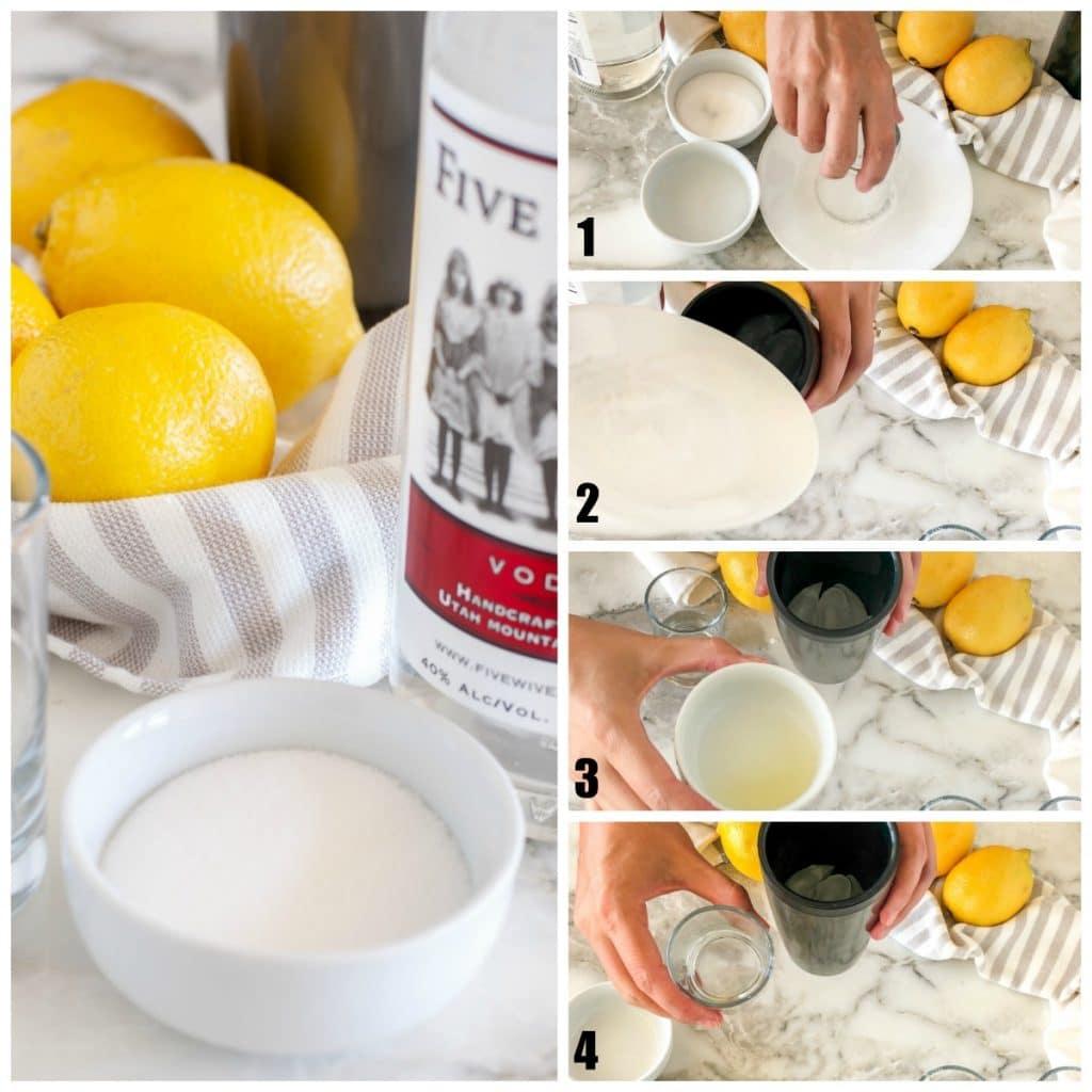Bowl of sugar, lemons, vodka