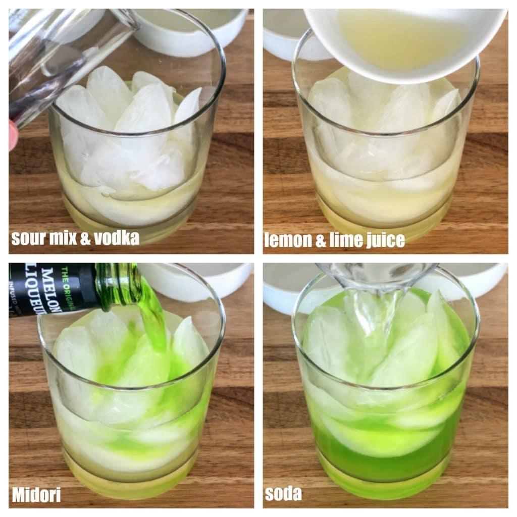 glass with ice, sour mix, vodka, lemon juice, Midori and soda