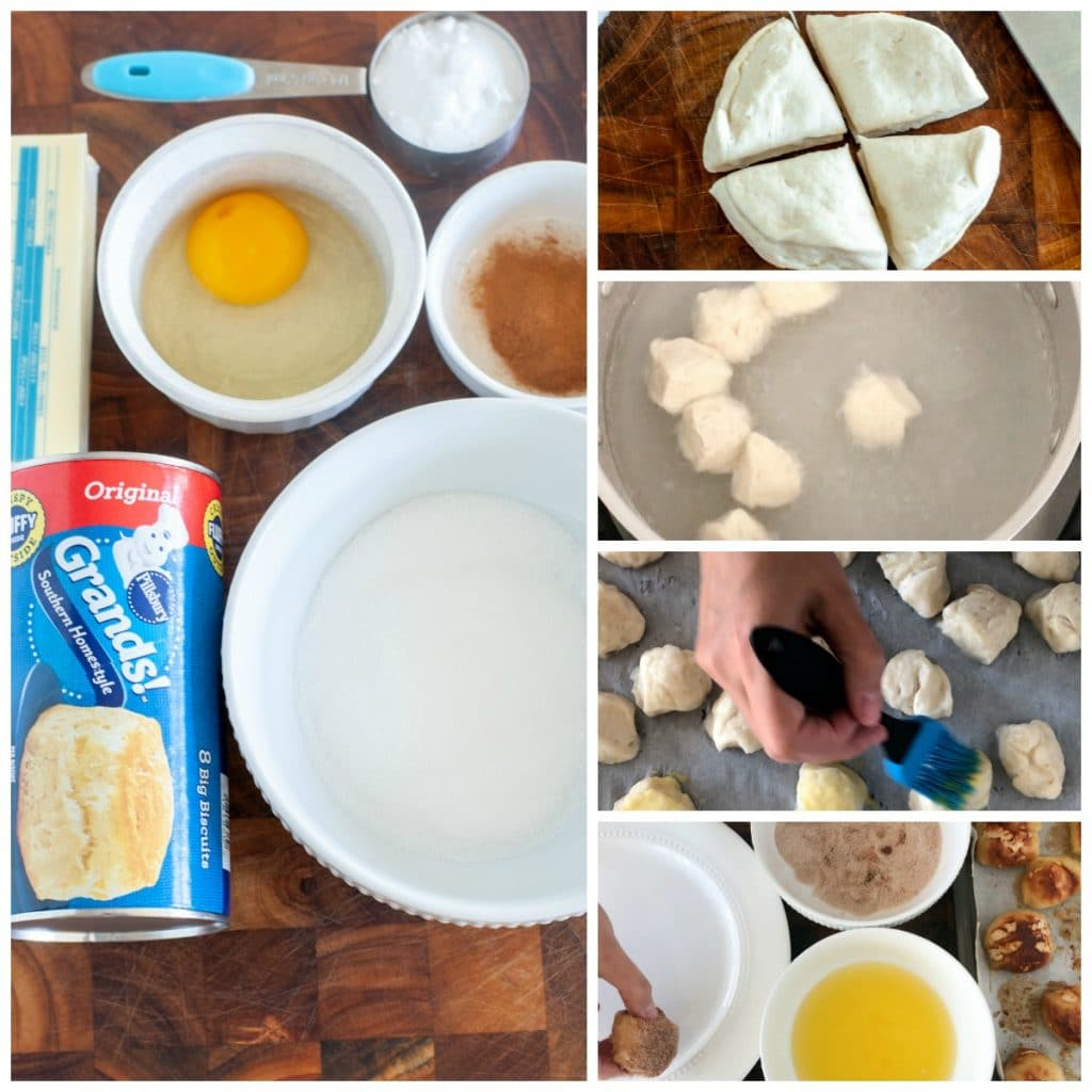 canned biscuits, butter, sugar, egg, baking soda, cinnamon