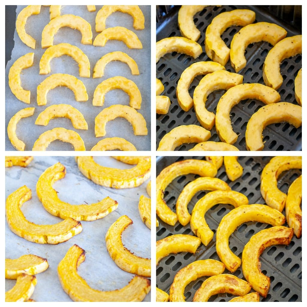 Sliced squash on pan and in air fryer
