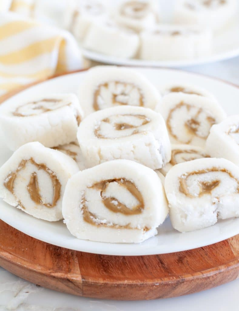 Pinwheel candy on a plate