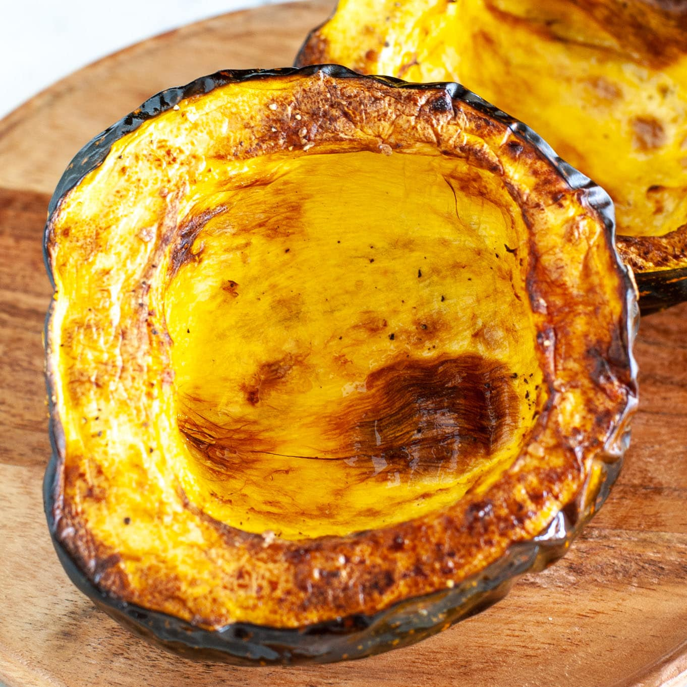 Roasted squash on board.