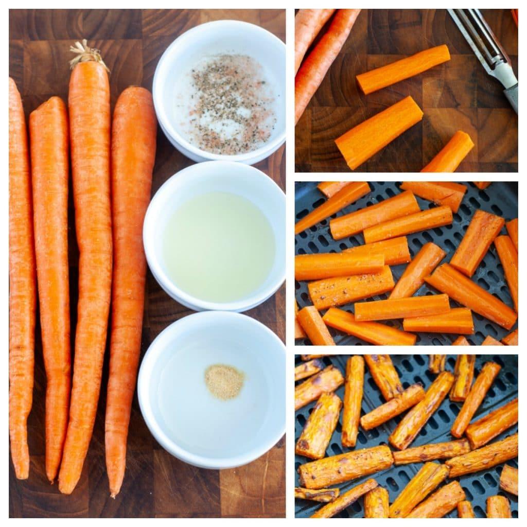 Carrots, oil, garlic powder, salt and pepper, in the air fryer