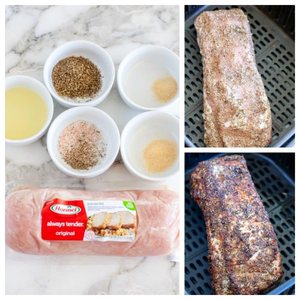 Pork loin, bowls or oil, italian spices, garlic powder and onion powder