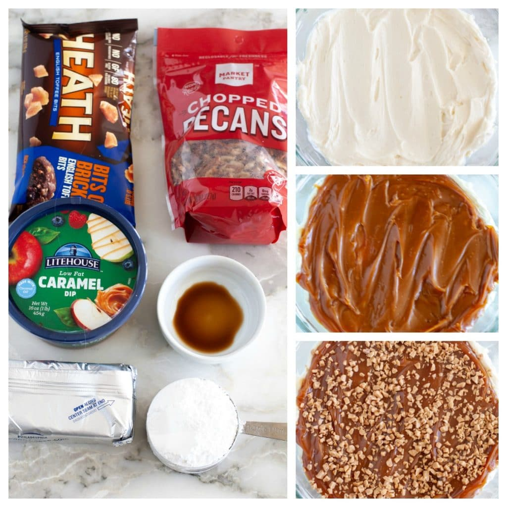 caramel sauce, cream cheese, powdered sugar, vanilla, toffee bits