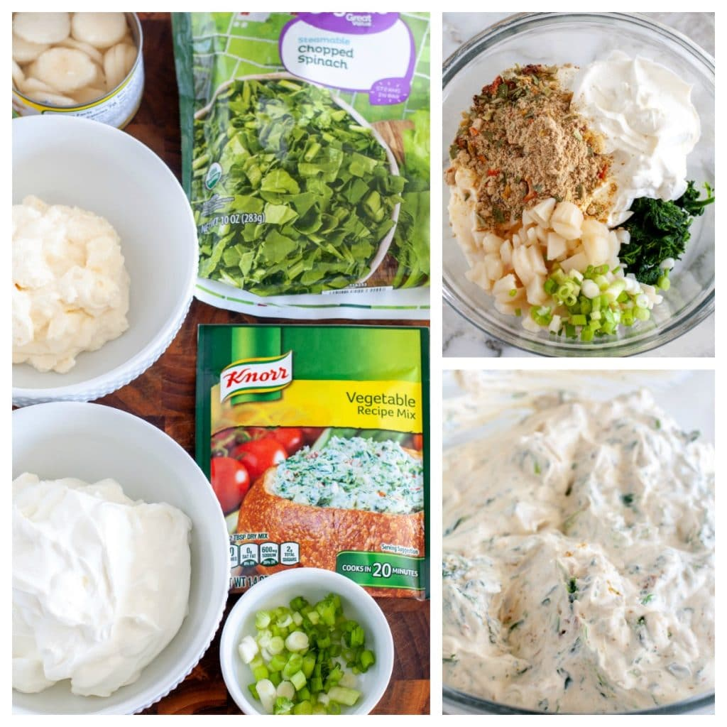 knorr vegetable mix, sour cream, mayo, frozen spinach, water chestnuts