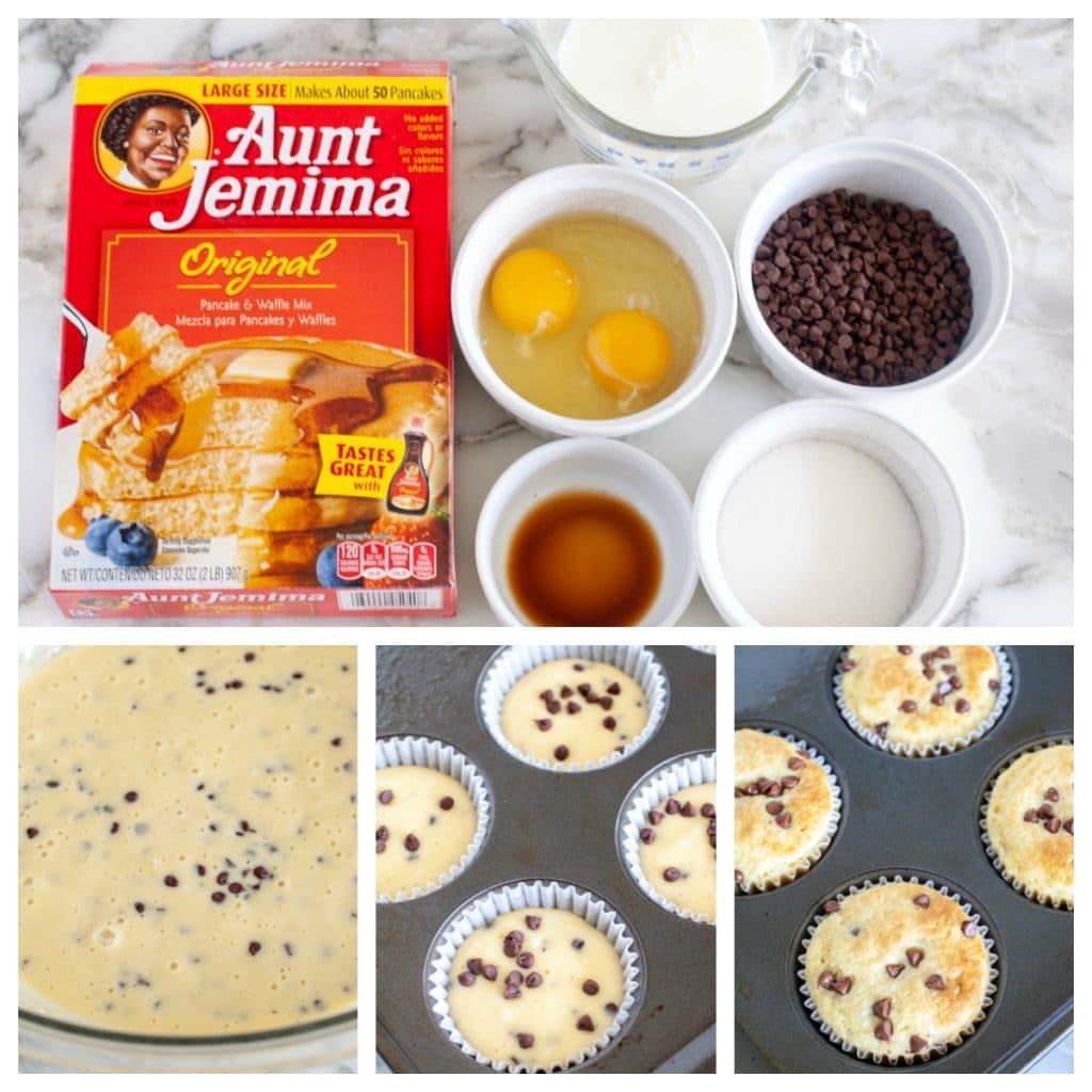 Pancake mix, eggs, milk, vanilla, sugar, chocolate chips