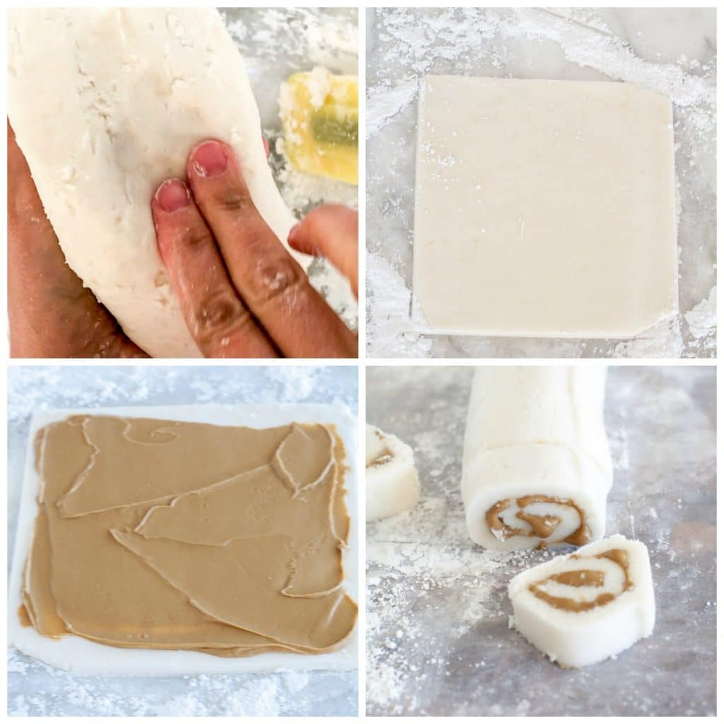 candy dough, rolled out with peanut butter