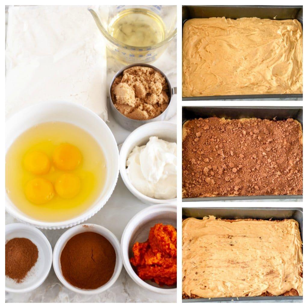 Bowl of eggs, cake mix, pumpkin, brown sugar, oil, cinnamon, sour cream