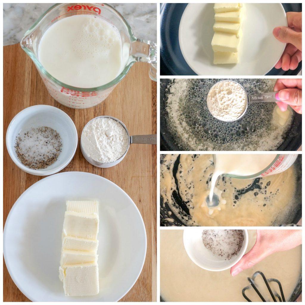 Butter, milk, flour, salt and pepper
