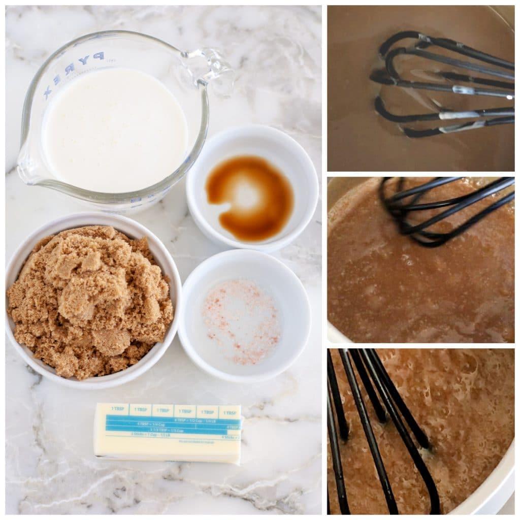 Brown sugar, cream, butter mixed in saucepan