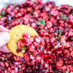 Cracker with cranberry dip