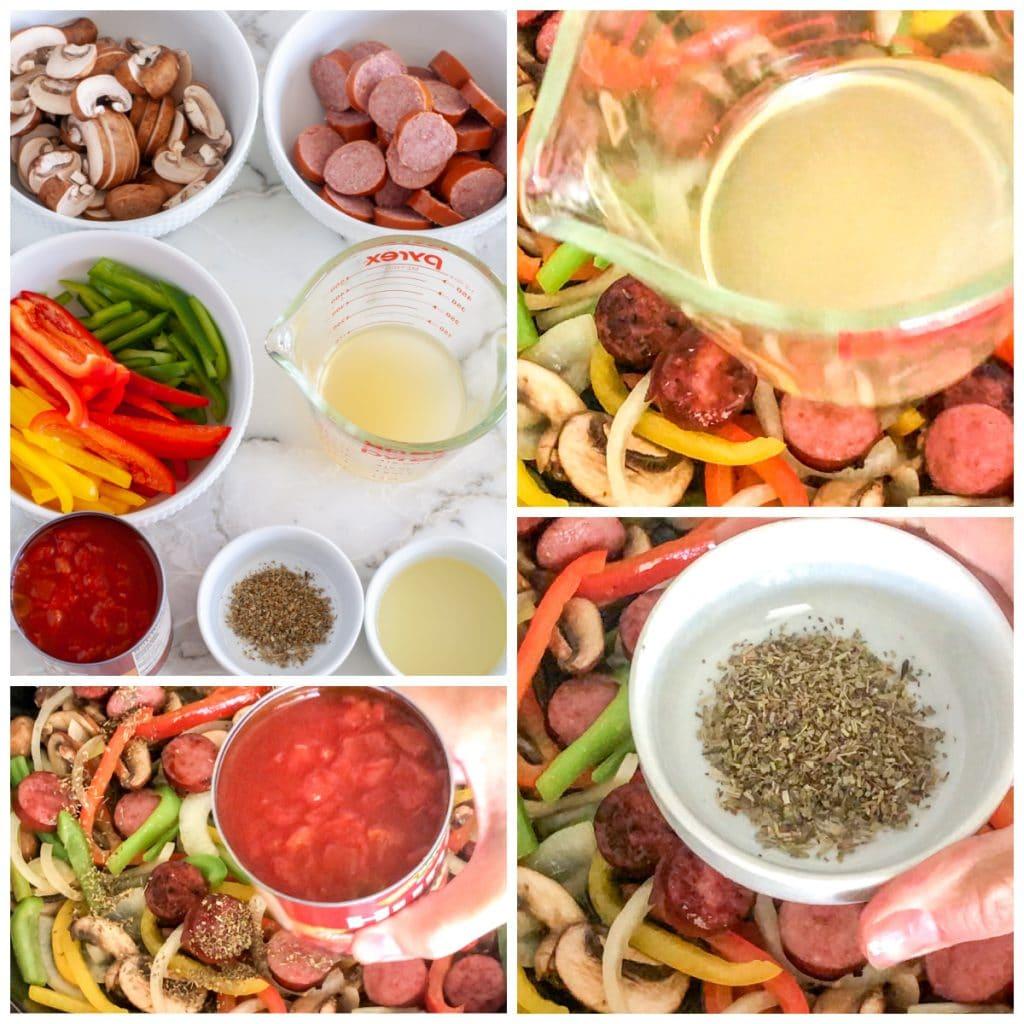 Sausage, peppers, onions, broth, seasoning, tomatoes