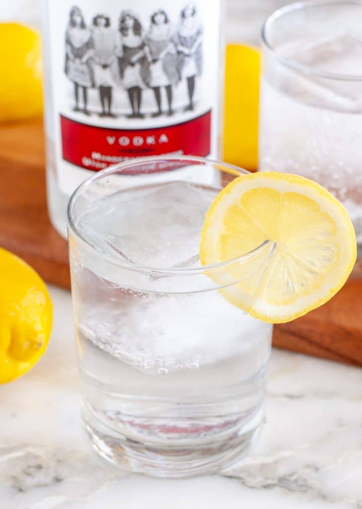 Vodka and soda water in glass